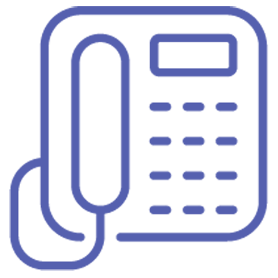 Logo of a telephone for calling us