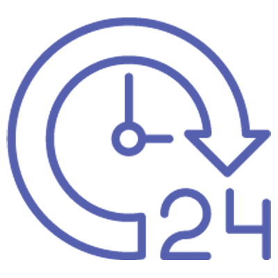 Logo of a clock showing availability when needed