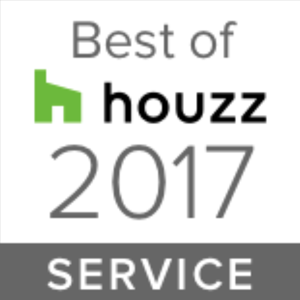 Houzz award badge for best in service in 2017