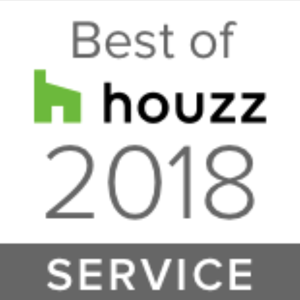 Houzz award badge for best in service in 2018
